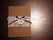 burlap decoration wedding invitation for vintage theme wedding