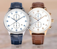 Classical style geunine leather strap Sapphire glass men watch products china watch