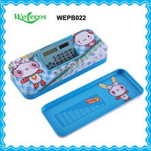 Metal Tin Pencil Box with Calculator for Kids