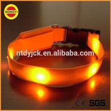 cheap customized orange plain nylon dog collar stock lot