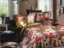 pink flower Printed 3D bedding set 100% Polyester