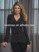apparel manufactory prinstripe ruffle lace top/blouse
