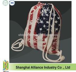 National Day Gift Cotton Bag / Custom Logo Printed Cotton Drawstring Bag / 8OZ Canvas Natural Cotton Drawstring Bag