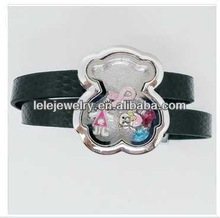 China supplier Alibaba fashion diamond locket leather bracelet BEAR