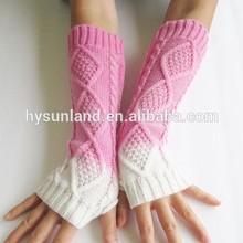 W-265 Ombre fingerless knitted tie dye gloves for women gloves