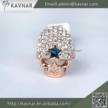 Alibaba Wholesale Fashion Rich Diamond Gold Plated The Exxpendables Male Skull Ring R2364
