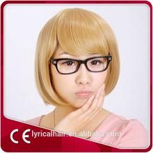 synthetic hair color short yellow bob wigs peluca factory price AAAAAA grade wigs