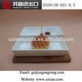 """Pcs 2 4"""" cuadrados tazón de fuente y la placa rectangular de bambú con junta"""
