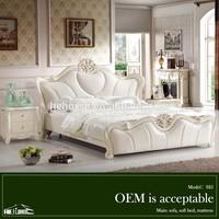 925# teak wood modern bed designs italian white leather bed