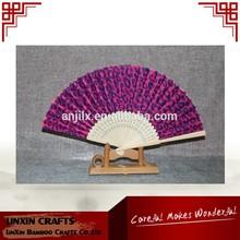 hot sale promotional leopard print hand fan bamboo fan customized gifts
