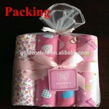 New design baby flannel blanket 4PCS sets mash bag packing blanket