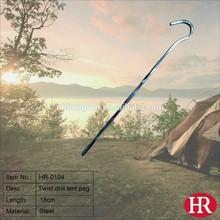 Outdoor camping metal hook tent peg