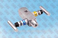 """stainless steel 6000 psi 1/2"""" NPT 2-valve gas valve manifold"""