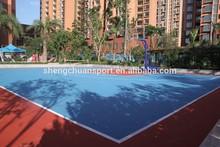 Interlocking plastic outdoor basketball flooring