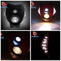 LED Motorcycle Headlight H3 12V LED Headlight Bulb Vision LED Head Lamp with Turn Signal Blinker for Street Fighter Dirt Bike
