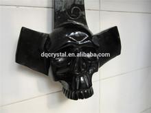 Amazing negro piedra de obsidiana tallada calavera de cristal/la pared- montable en claro natural de obsidiana piedra de la escultura del cráneo
