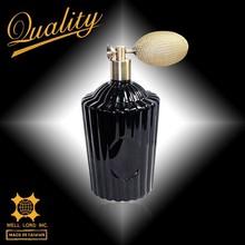 Mysterious black spiral designed 100ml black glass bottles perfume