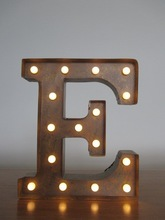 """Vintage Metal Industrial Marquee Light - Letter E - 13-3/4"""" Tall"""