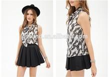Fashion girls short tops Feather small high-necked sleeveless chiffon unlined upper garment
