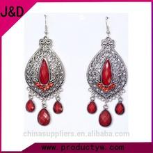 Costume Jewelry Antique Ladies Earrings Gemstone Retro Big Drop Earring