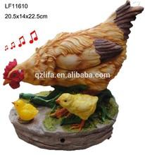 animal sculpture garden resin hen figurine with motion sensor