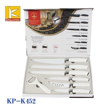7pcs Popular non stick knife set in gift box packng with peeler