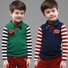 tx-2211 wholesale2014 Autumn Korean version of the new children's long-sleeved striped lapel Po Boys T-shirt shirt
