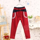 Kz-3190 wholesale fashion children 2015 winter child clothes kids clothing boys Korean new stitching casual pants warm trousers
