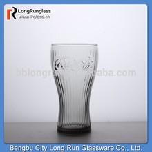 longrun patrón único de color ámbar 345ml cola de vidrio tazas con alto quanlity venta al por mayor de artículos de vidrio