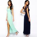 2015 novo na moda as mulheres mostram desgaste maxi chiffon vestido longo sexy vestidos de noite