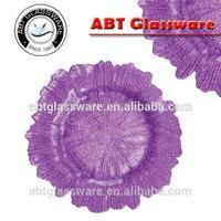 Hot sale purple color flower shape glass charger plate