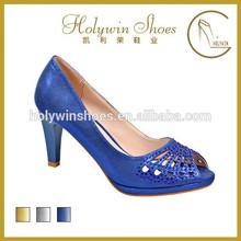 blue evening shoes 6cm low heel crystal wedding shoes dress shoe