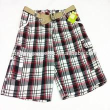 Hot Popular Mens Check Shorts Cargo Shorts with Belt