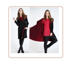 New design double layer long sleeve korea style classic fashion online shopping woman coat