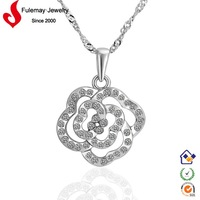 Chinese cheapest gold necklace with edelweiss pattern FPN463