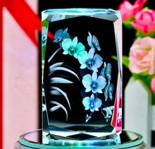 3d laser engraving customized crystal of block for indian gifts