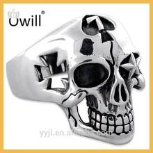 Tibetan Jewelry Warrior Skull Ring Handmade Sterling Silver Skull Ring Oxidizing