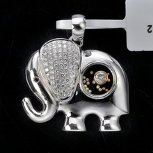 G1P002228A 925 Sterling Silver Wholesale Elephant Pendants Hot New Glass Products for 2015