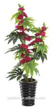 2014 artificial 3 stems hibiscus tree flower is purple SGS certified--model 0107