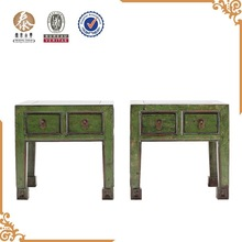 Classic antique furniture solid wood stools with drawers green