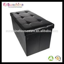 Folding Cuboid Faux Leather Ottoman Pouffe Storage Box Lounge Seat Footstools (black)