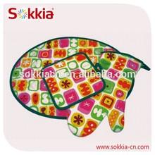 Kitchen decorative cooking cotton fabric insulated tortilla warmer set