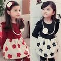 Qz-1198 venta al por mayor de moda de la primavera los niños ropa de niño ropa de niños niñas 2015 coreano el último caliente de lujo baratos vestidos de flores