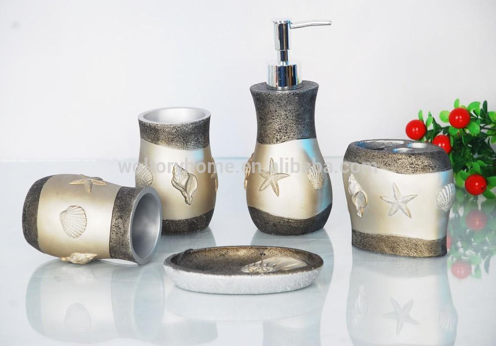 shell fossilen silber gro handel polyresin bad accessoires 5 st ck badezimmer set badeset. Black Bedroom Furniture Sets. Home Design Ideas
