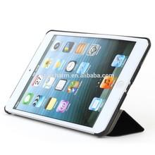 pu case for ipad mini2 Triplicate fold pu cover with pc holder hard case