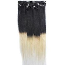Full head fullers ends 100g black and blond two tone color malaysian virgin human hair clip in hair extensions