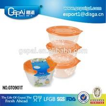 Unique design plastic clear packing box with orange lid