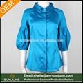 nuevo diseño de color azul real linterna damas camisas de manga