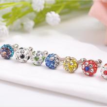 Fancy coloured diamond diameter 3.5 mm anti dust plug for mobile phone