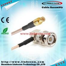 RF cable assembly BNC plug RA to MCX plug for RG316